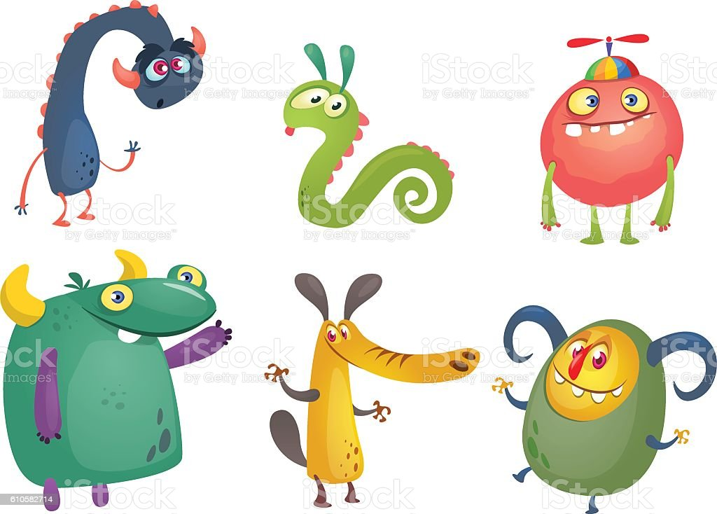 Cartoon Monsters. Vector set of cartoon monsters isolated - clipart vectoriel de Amitié libre de droits