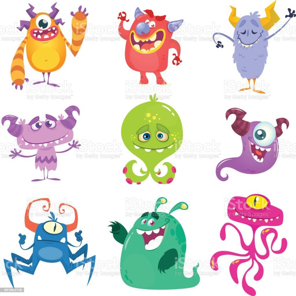 Dessin animé monstres. Jeu de monstres de dessin animé isolé vectorielles - clipart vectoriel de Aile d'animal libre de droits