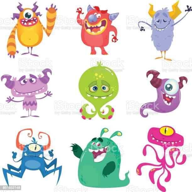 Cartoon monsters vector set of cartoon monsters isolated vector id851853148?b=1&k=6&m=851853148&s=612x612&h=sdzqe489zhbhmf cqk2iyfxxa oab8k9yf66k1x0qwo=