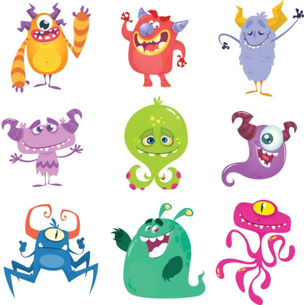 cartoon monsters. vector set of cartoon monsters isolated - cartoon kids stock illustrations, clip art, cartoons, & icons