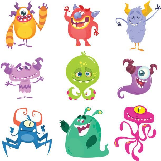 ilustraciones, imágenes clip art, dibujos animados e iconos de stock de dibujos animados de monstruos. conjunto de vectores de monstruos de dibujos animados aislados - monstruo