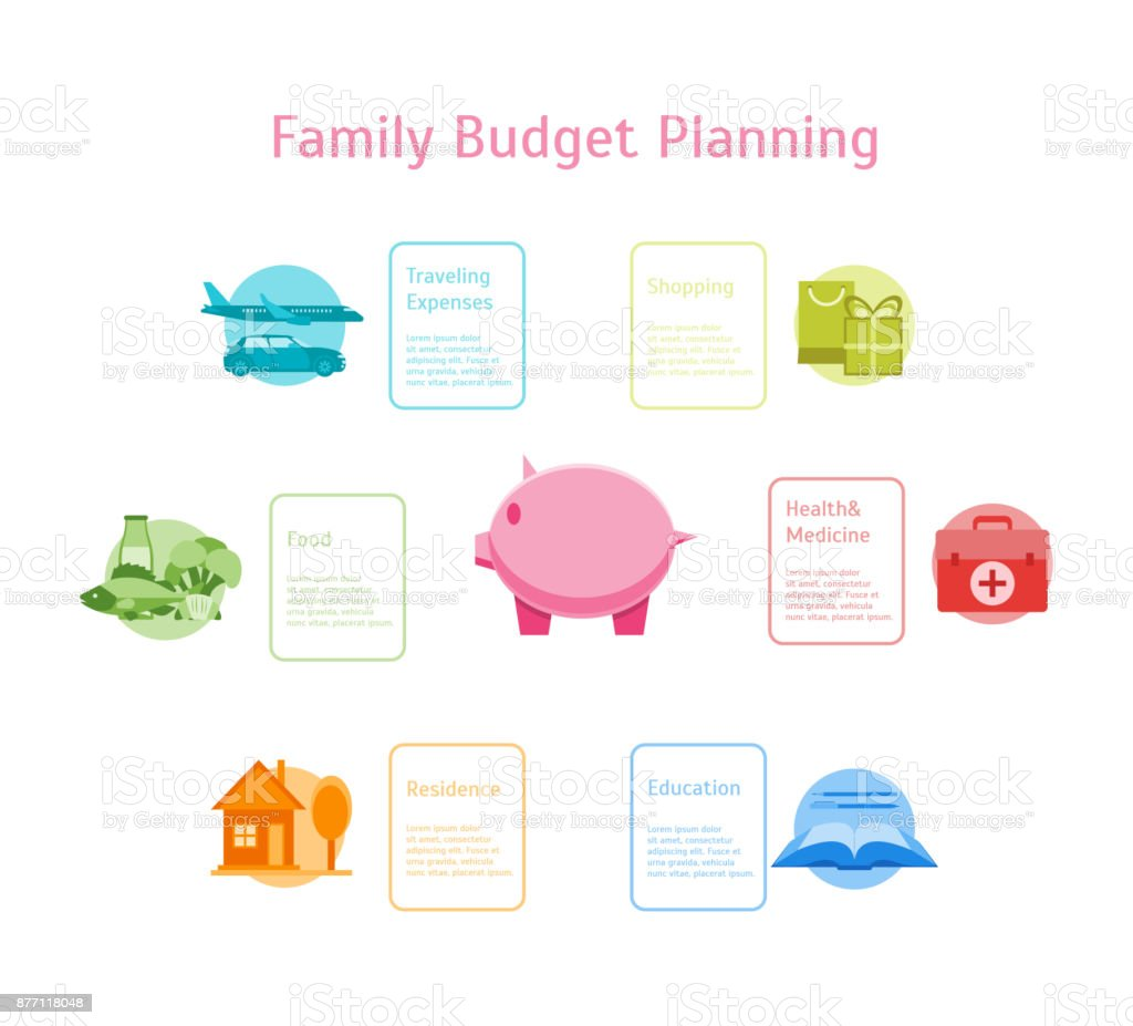 cartoon monthly expenses family budget planning card poster vector