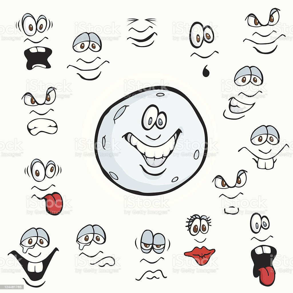 Cartoon Moon Facial Expressions royalty-free cartoon moon facial expressions stock vector art & more images of anger