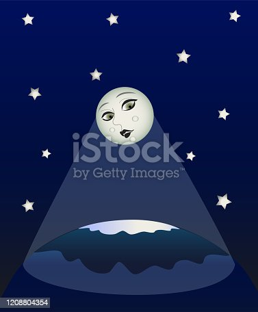 Moon face looks shining on earth cosmos stars blue background