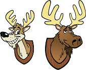 Cartoon Moose and Deer Heads