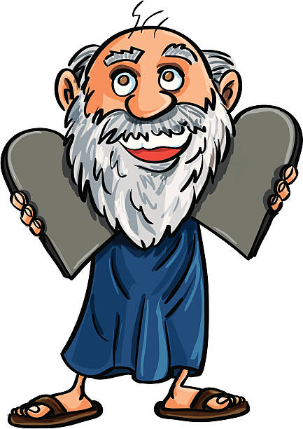 Cartoon Moses and the ten commandments Cartoon Moses and the ten commandments on stone tablets isolated on white moses religious figure stock illustrations