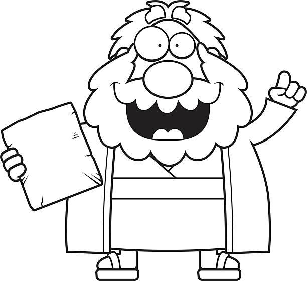 Cartoon Moses Idea A cartoon illustration of Moses with an idea. moses religious figure stock illustrations