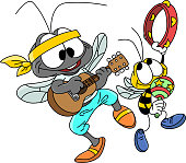 istock Cartoon mosquito and bee playing guitar and tambourine, making music together vector illustration 1223431545