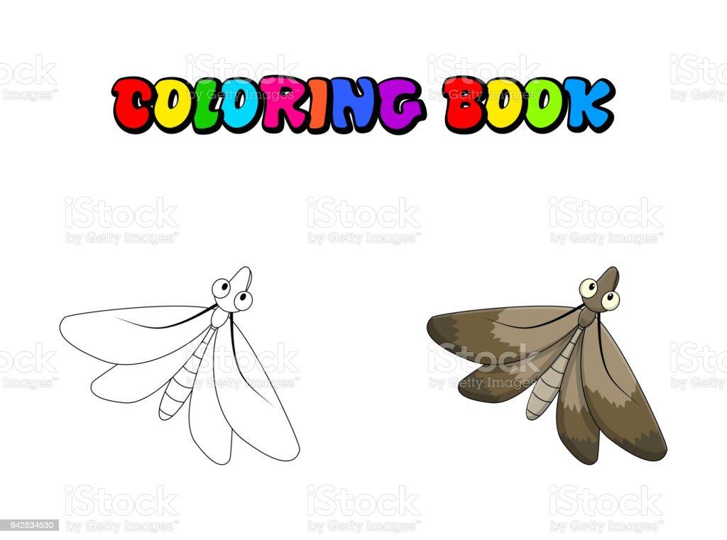 Ilustración de Dibujos Animados Polilla Para Colorear Libro Insecto ...
