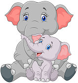 Cartoon mother and baby elephant sitting isolated on white background