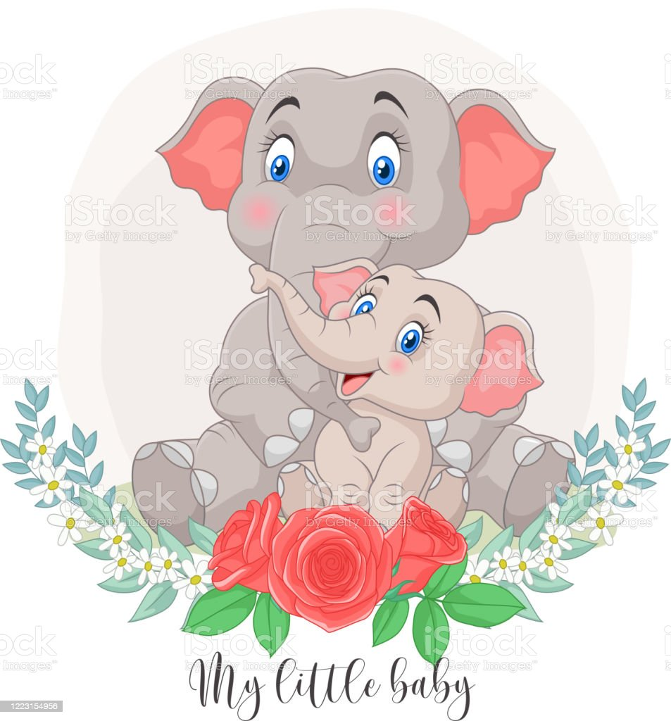 Cartoon Mother And Baby Elephant Sitting With Flowers Background Stock Illustration Download Image Now Istock