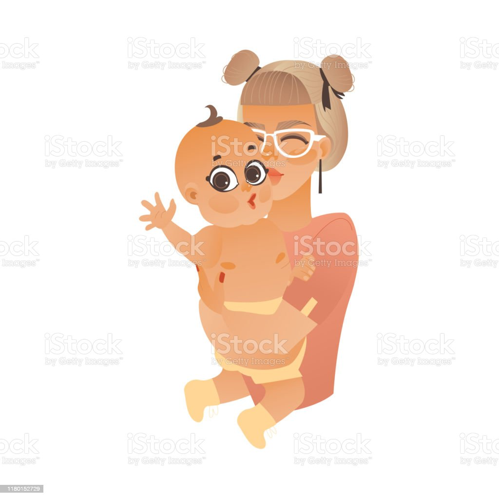 Cartoon Mother Holding Kissing Infant Baby Stock Illustration Download Image Now Istock