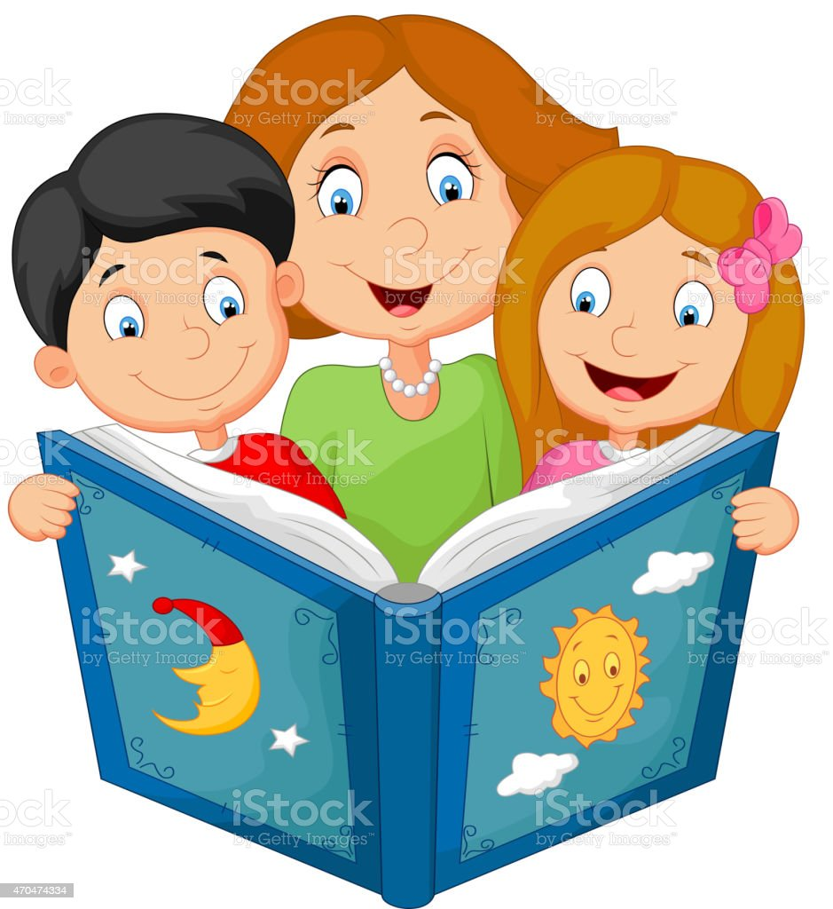 cartoon mother reading with his children stock vector art more rh istockphoto com People Reading Clip Art family reading together clipart