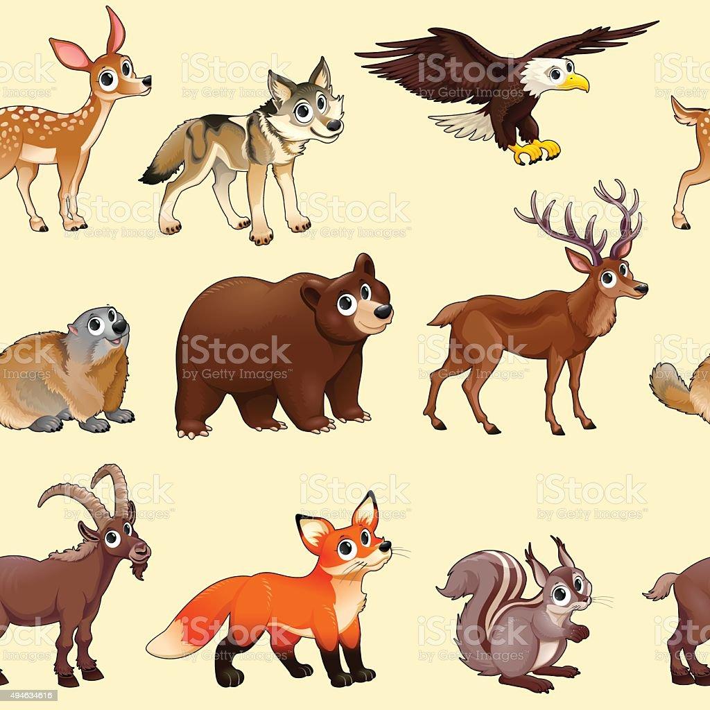 Dessin animé animaux motif montagne - Illustration vectorielle