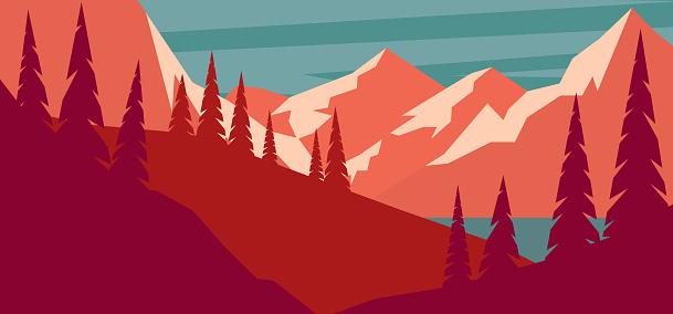 Cartoon mountain landscape in flat style. Design element for poster, card, banner, flyer. Vector illustration