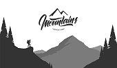 Vector illustration: Cartoon mountains grayscale landscape with hiker on foreground