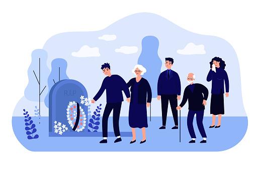 Cartoon mourning people at graveyard flat vector illustration