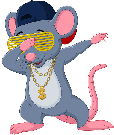 Cartoon mouse dabbing dancing wears sunglasses, hat, and gold necklace