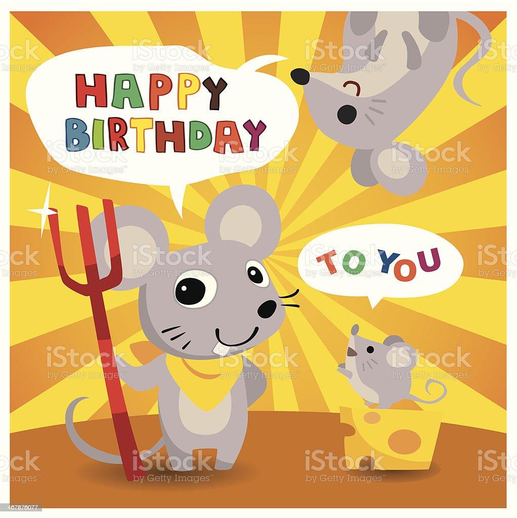 Fumetto Mouse Un Amico Cartolina Di Buon Compleanno Immagini