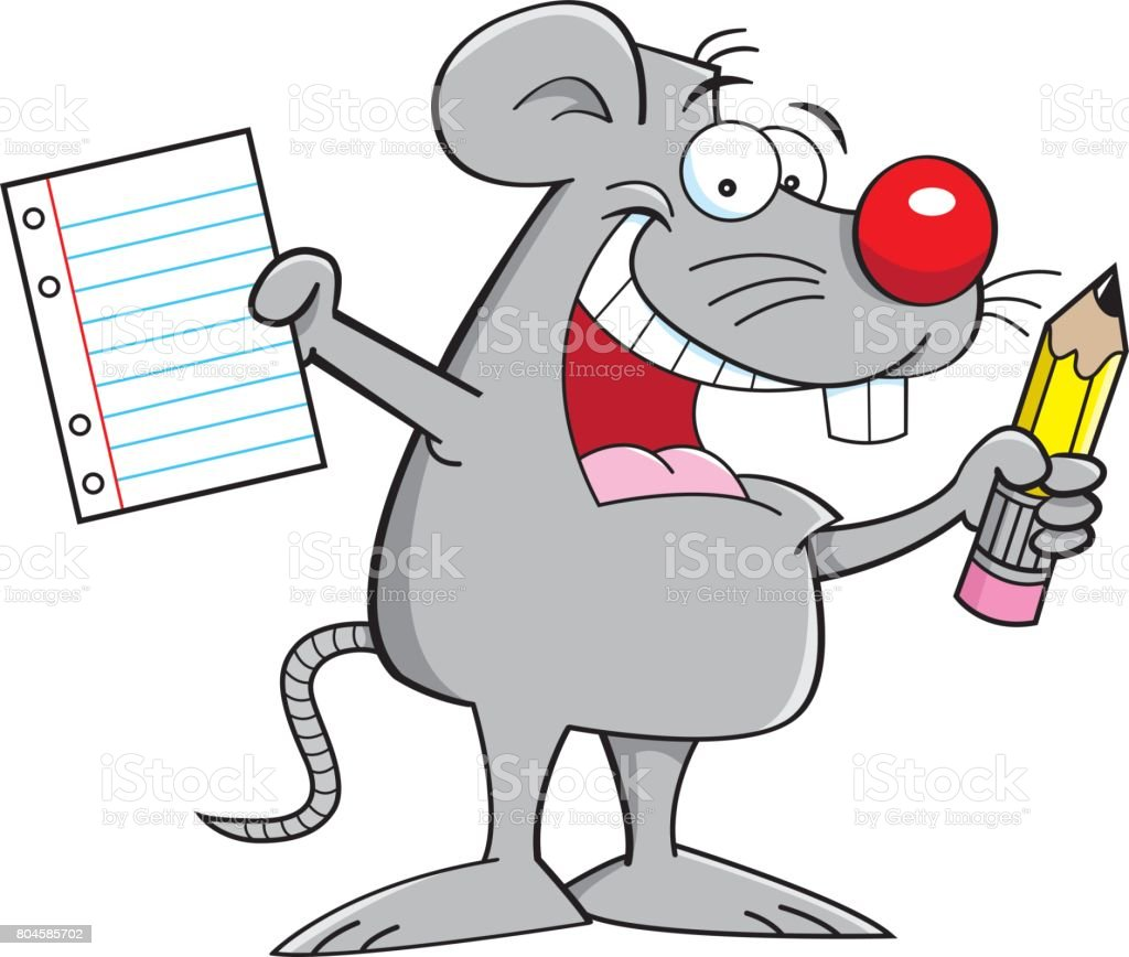 Cartoon mouse holding a paper and a pencil.