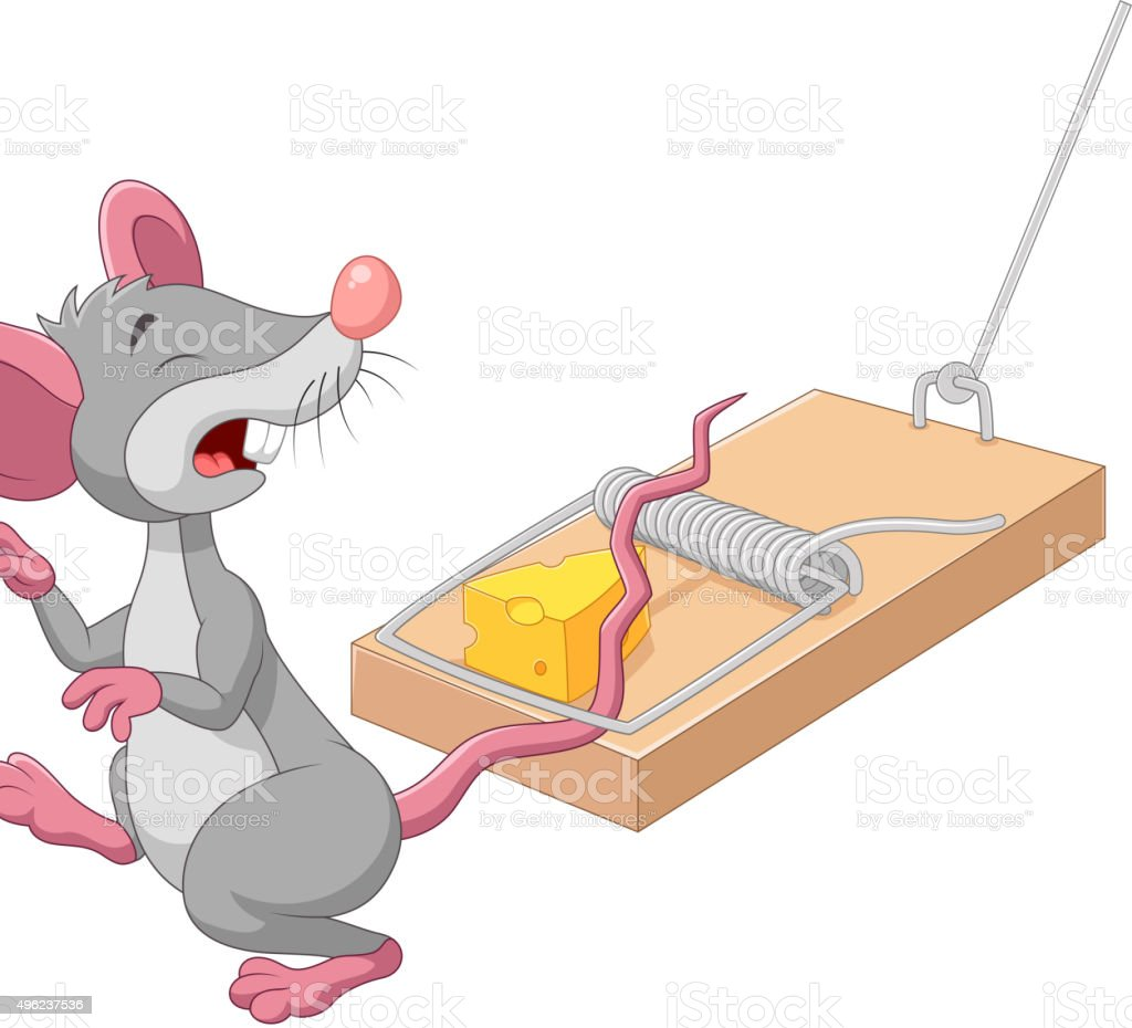 Cartoon mouse in a mousetrap isolated on white background vector art illustration