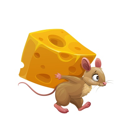 Cartoon mouse or rat and large piece of cheese,
