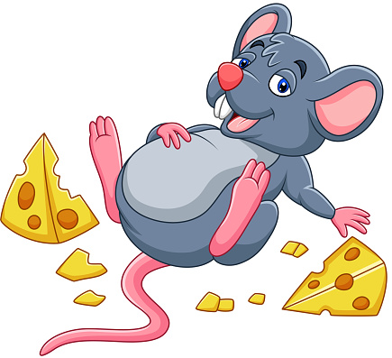 Cartoon Mouse With A Cheese And Full Belly Stock ...