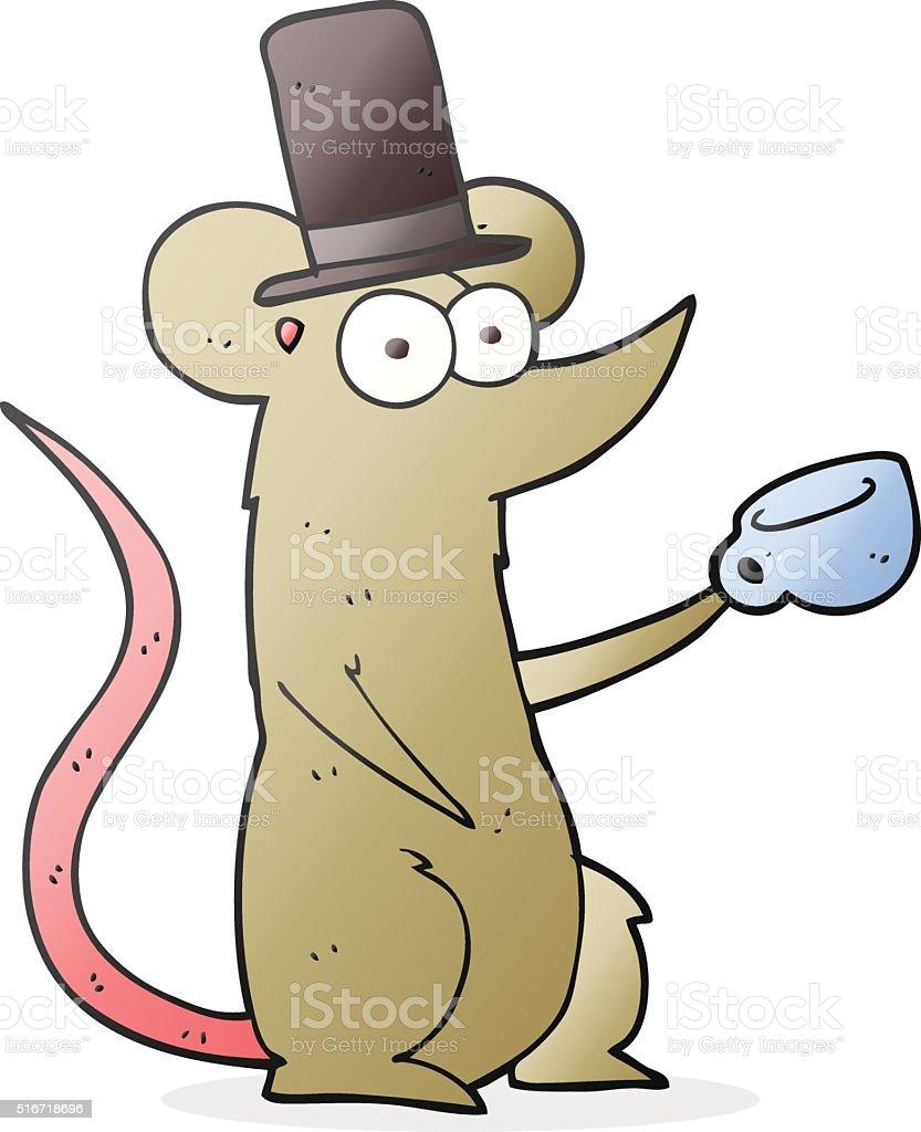 カットイラストマウスカップトップハット いたずら書きのベクター