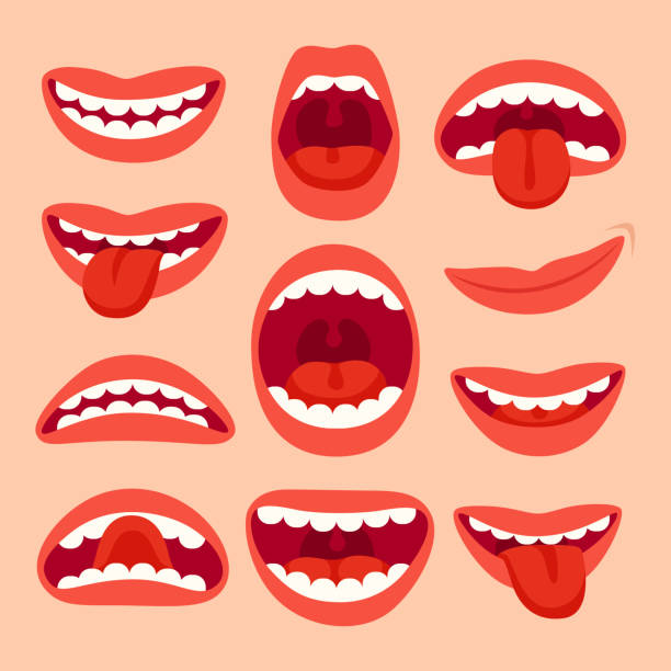 illustrazioni stock, clip art, cartoni animati e icone di tendenza di cartoon mouth elements collection. show tongue, smile with teeth, expressive emotions, smiling mouths and phonemes vector set - bocca umana