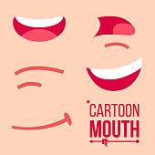 Cartoon Mouth Set Vector. Shock, Shouting, Smiling, Anger. Expressive Emotions. Flat Illustration