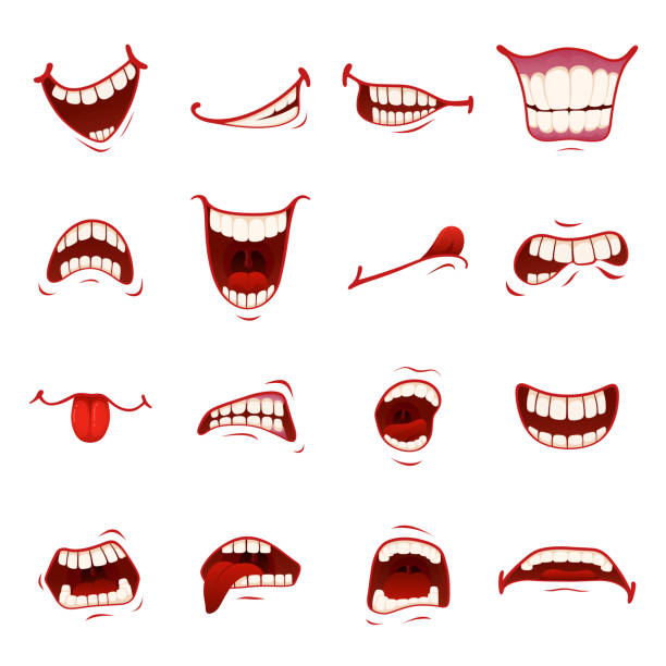 illustrazioni stock, clip art, cartoni animati e icone di tendenza di cartoon mouth with teeth - denti