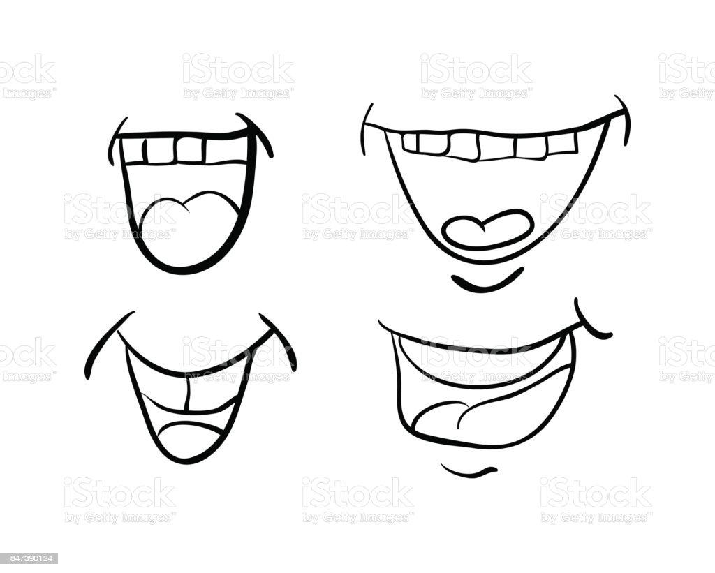 ilustração de desenhos animados de boca com língua e dentes vector