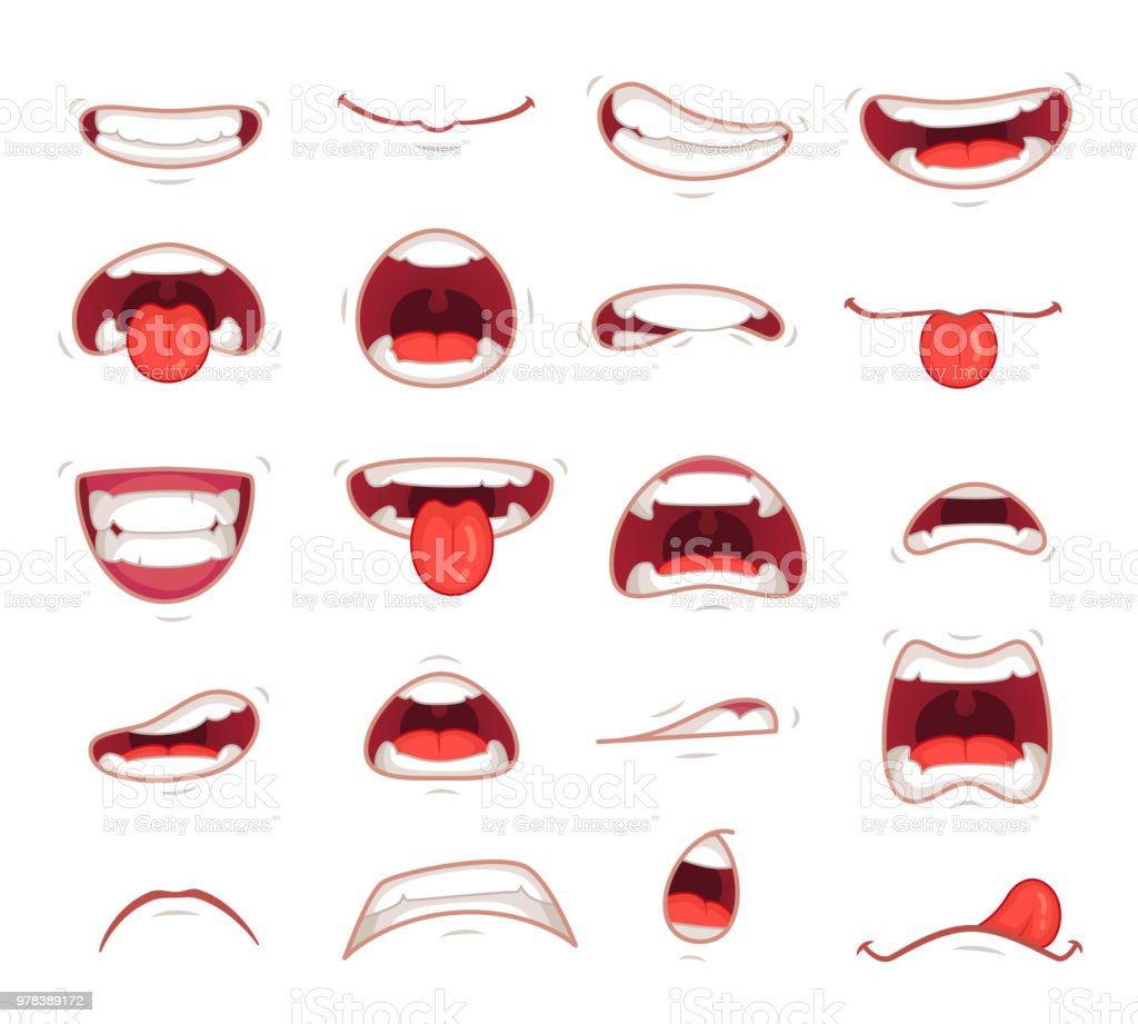 Cartoon mouths. Facial expression surprised mouth with teeth shock shouting smiling and biting lip vector illustration