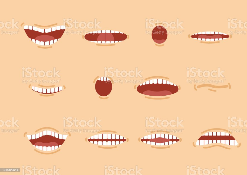 Cartoon mouths set. Smile. Funny Cartoon mouths set with different expressions. Smile with teeth, sticking out tongue, surprised. Cartoon talking mouth and lips expressions vector animations poses vector art illustration