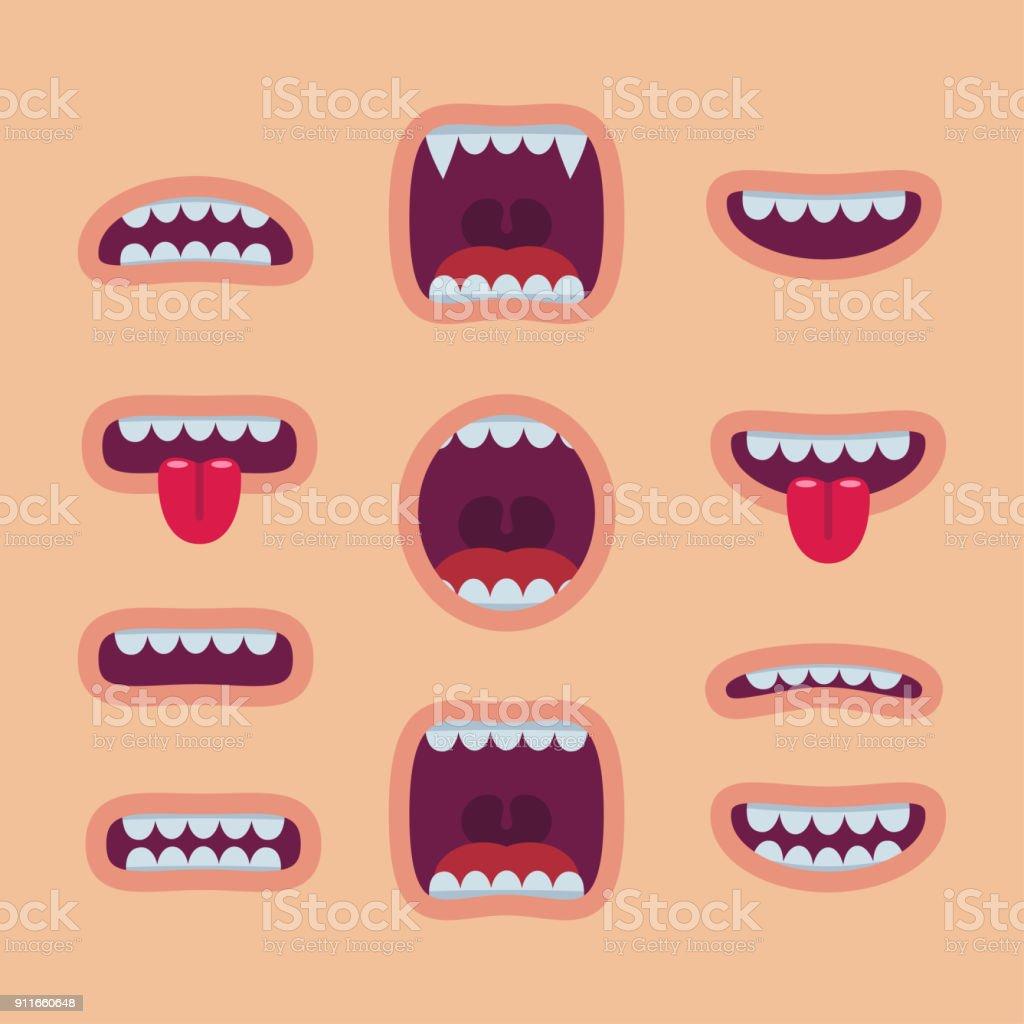 Conjunto de bocas dos desenhos animados. Sorriso - ilustração de arte em vetor