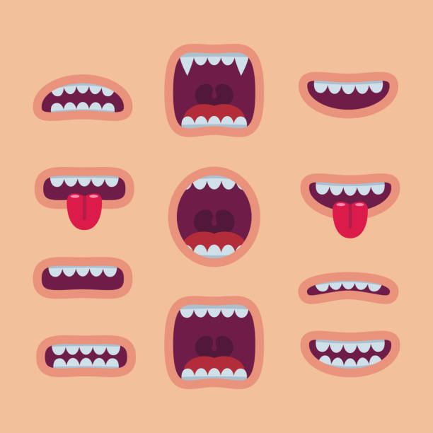 cartoon mouths set. smile - zęby stock illustrations