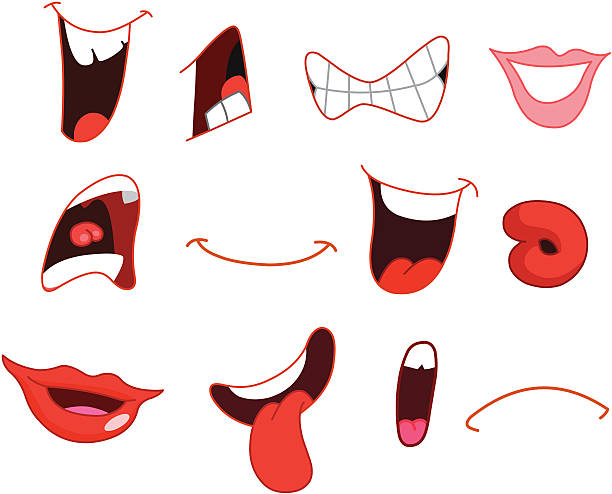 cartoon mouths - toothy smile stock illustrations
