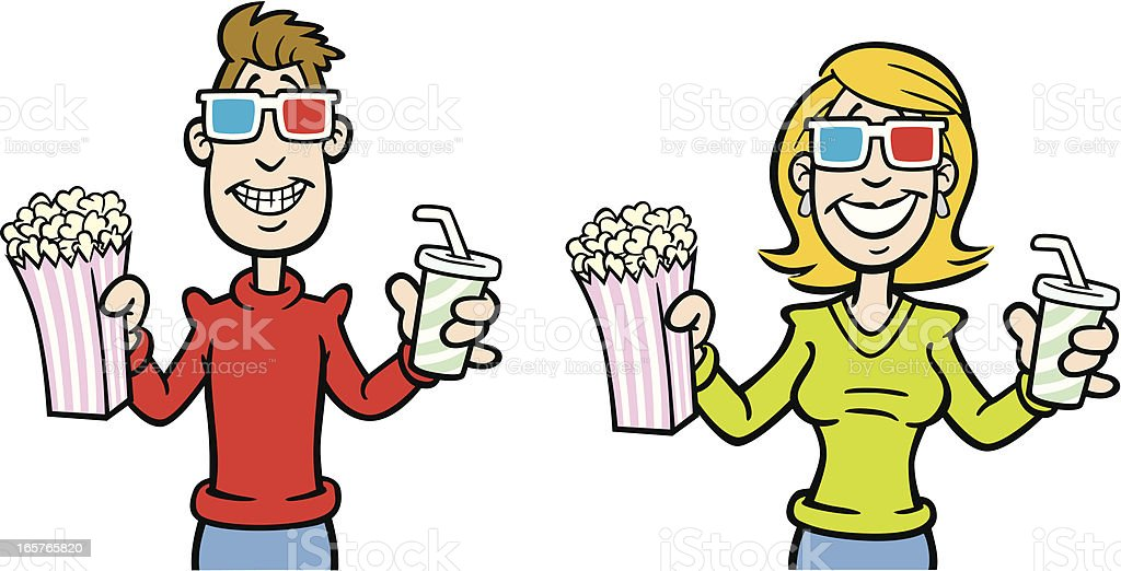 Cartoon Movie Watchers vector art illustration