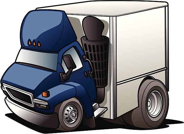 Cartoon Moving Truck vector art illustration