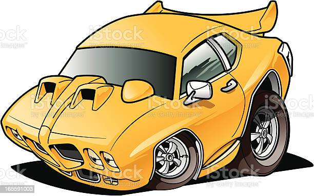 Cartoon Muscle Car Stock Illustration - Download Image Now