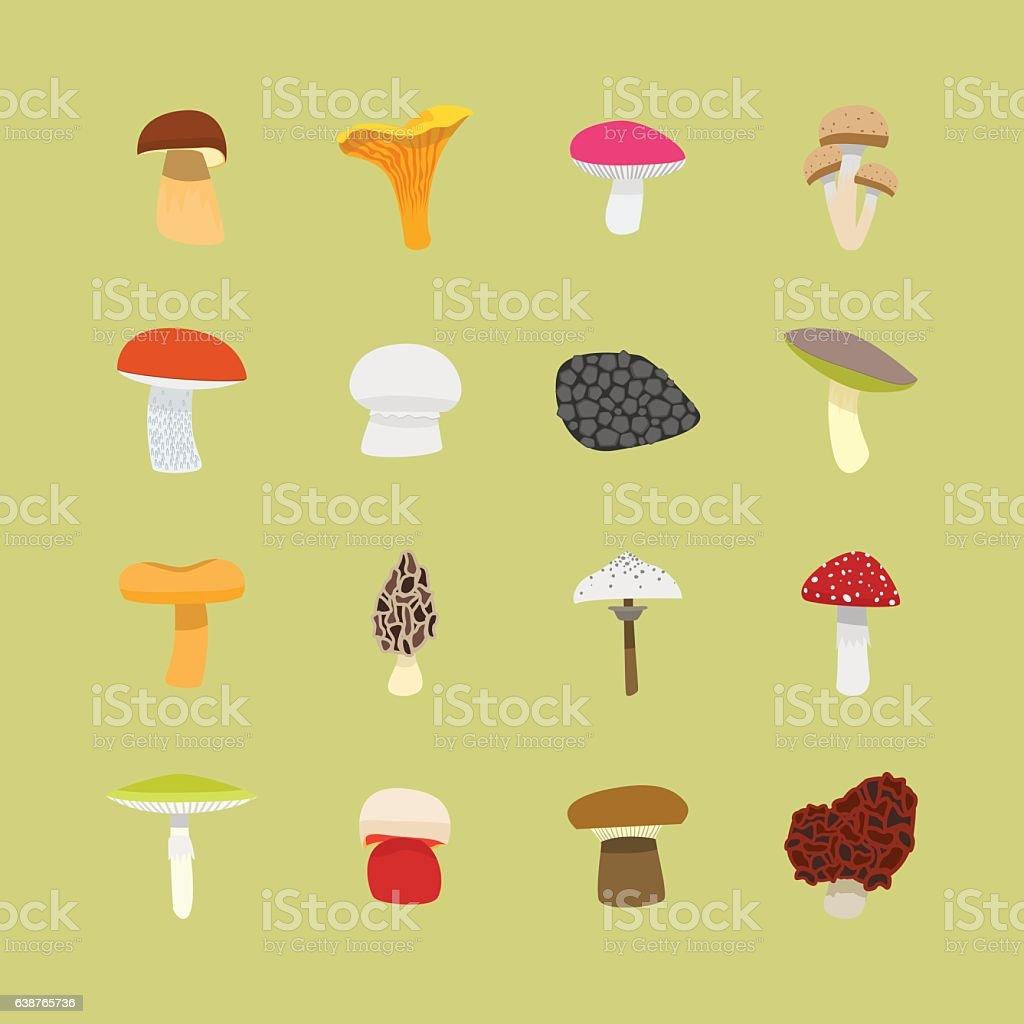 Cartoon Mushrooms Icon Set. Vector vector art illustration