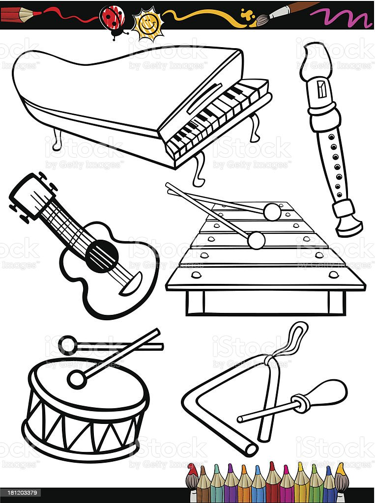 Acoustic Guitar Grand Piano Musical Instrument Cartoon Music Instruments Coloring Page