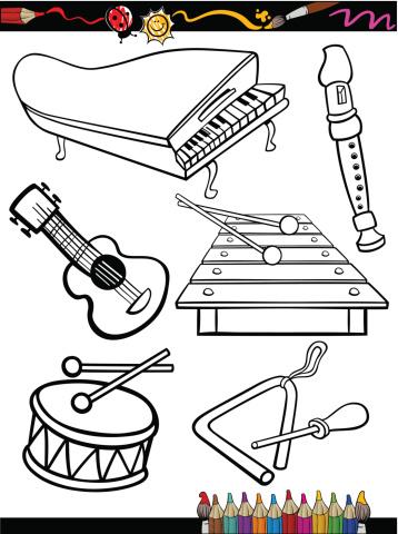 Les Instruments De Musique Dessin Anime Coloriage Page Vecteurs Libres De Droits Et Plus D Images Vectorielles De Blanc Istock
