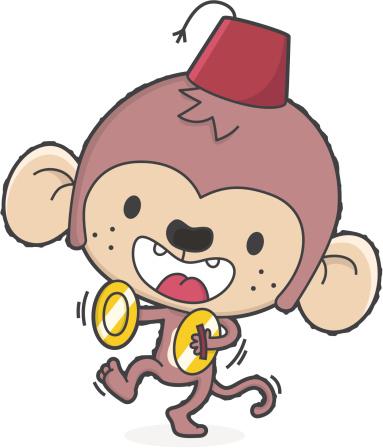 cartoon music monkey with fez makes noise