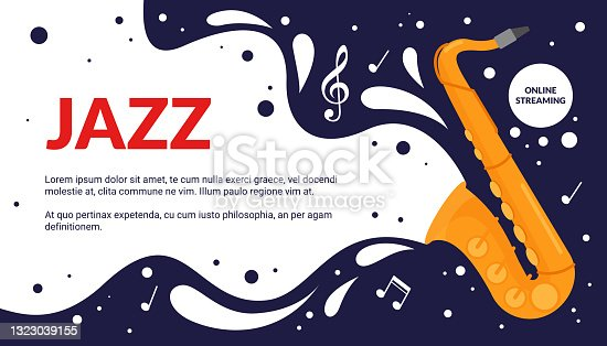 istock Cartoon musical fest announcement, party show promotion advertisement with vintage trumpet instrument and notes melody poster. Jazz music art festival event flyer vector illustration. 1323039155