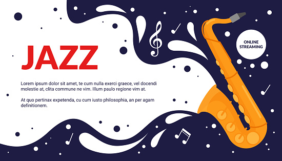Cartoon musical fest announcement, party show promotion advertisement with vintage trumpet instrument and notes melody poster. Jazz music art festival event flyer vector illustration.