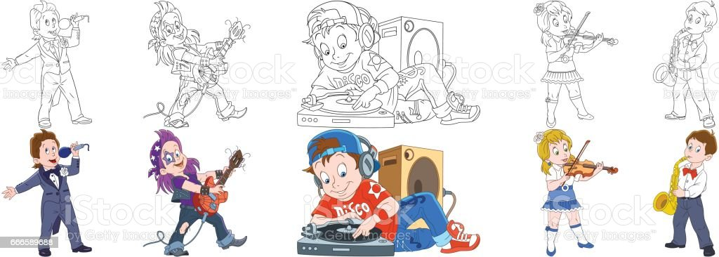 cartoon musical professions set vector art illustration