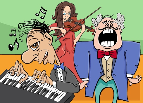 cartoon musicians characters playing music concert