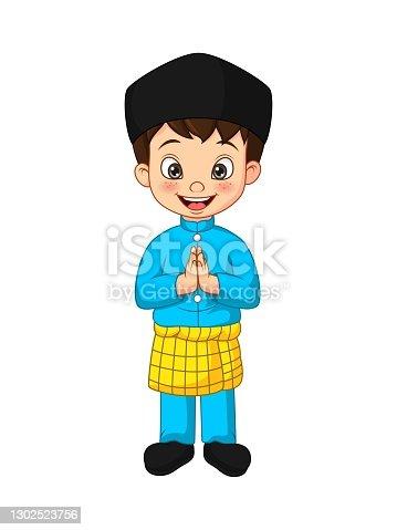 istock Cartoon Muslim boy greeting salaam 1302523756
