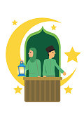 Cartoon muslim couple with crescent moon, stars and in a white background. Ramadan fasting or Hari Raya festival concept. Flat Vector illustration.